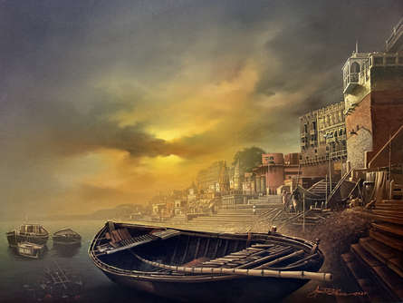 Cityscape Oil Art Painting title 'Banaras Ghat 1' by artist Amit Bhar