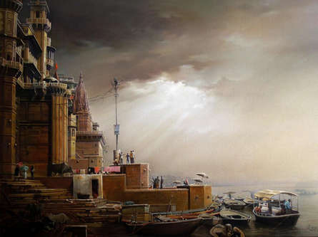 Cityscape Oil Art Painting title 'Banaras Ghat 11' by artist Amit Bhar