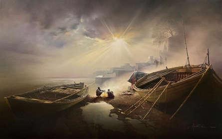 Cityscape Oil Art Painting title 'Banaras Ghat 12' by artist Amit Bhar