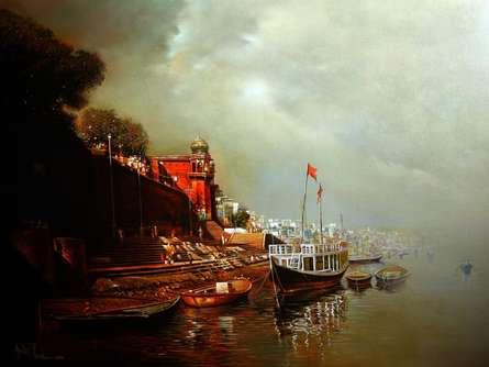 Landscape Acrylic-oil Art Painting title Banaras Ghat by artist Amit Bhar