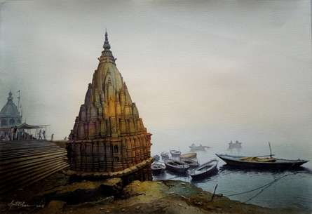 Amit Bhar | Watercolor Painting title Banaras Ghat No 6 on paper | Artist Amit Bhar Gallery | ArtZolo.com
