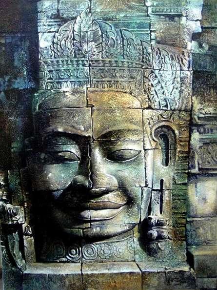 Canbodia Buddha | Painting by artist Amit Bhar | acrylic-oil | canvas