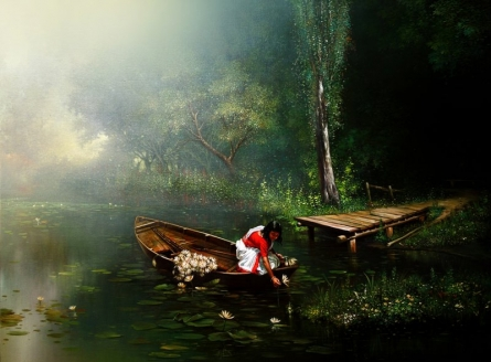 Amit Bhar | Acrylic-oil Painting title Child Hood on canvas | Artist Amit Bhar Gallery | ArtZolo.com