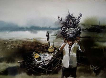 Child Hood | Painting by artist Amit Bhar | watercolor | paper