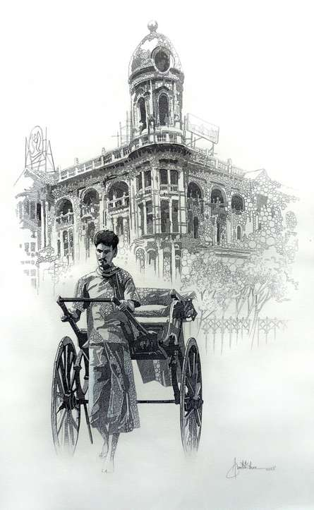Figurative Pen Art Drawing title 'City Of Kolkata 1' by artist Amit Bhar