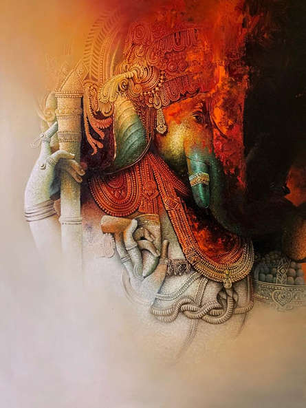 Religious Acrylic-oil Art Painting title Ganesha by artist Amit Bhar