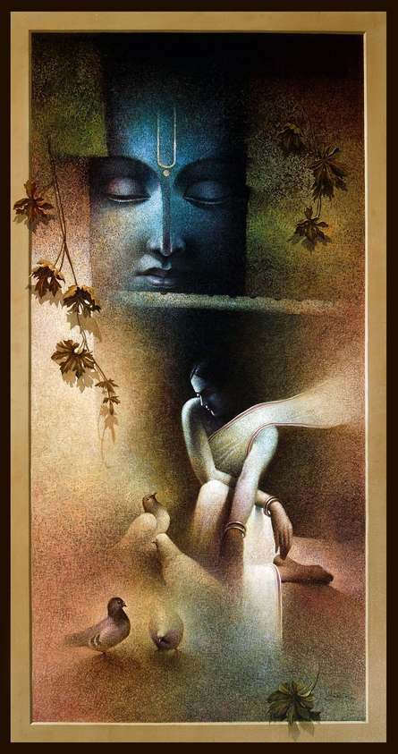 Amit Bhar Paintings | Acrylic-oil Painting - Radha Krishna by artist Amit Bhar | ArtZolo.com