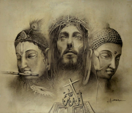 Religious Pencil Art Drawing title 'Unity' by artist Amit Bhar