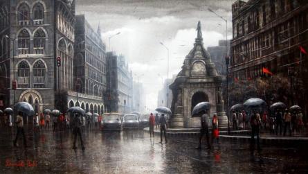 art, painting, acrylic, canvas, cityscape, mumbai