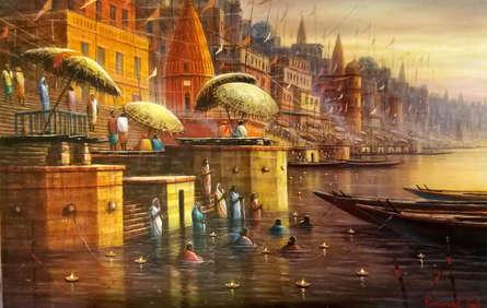 Religious Acrylic Art Painting title 'Varanasi 12' by artist Paramesh Paul