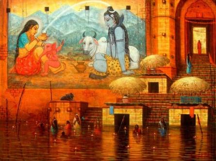 Paramesh Paul | Acrylic Painting title Varanasi 4 on Canvas | Artist Paramesh Paul Gallery | ArtZolo.com