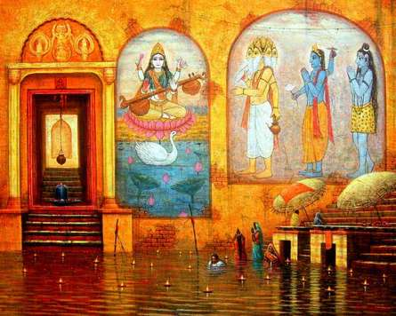 Cityscape Acrylic Art Painting title 'Varanasi 2' by artist Paramesh Paul