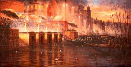 Cityscape Acrylic Art Painting title 'Varanasi 5' by artist Paramesh Paul