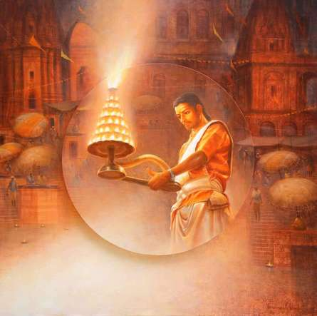 Varanasi 3 | Painting by artist Paramesh Paul | acrylic | Canvas