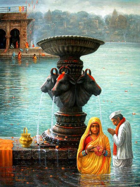 Religious Acrylic Art Painting title Varanasi 6 by artist Paramesh Paul