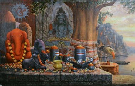 Religious Acrylic Art Painting title 'Varanasi 8' by artist Paramesh Paul
