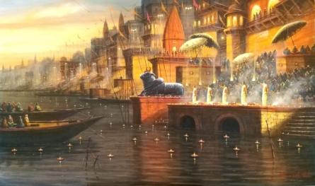 Religious Acrylic Art Painting title Varanasi 8 by artist Paramesh Paul
