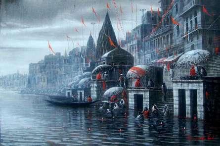 Banaras Ghat | Painting by artist Paramesh Paul | acrylic | Canvas