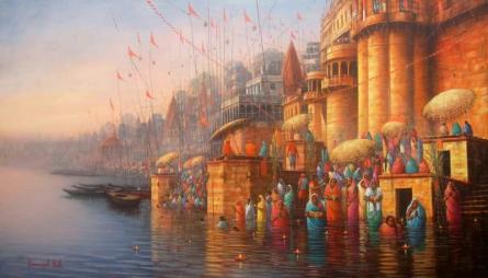 Landscape Acrylic Art Painting title Banaras Ghat 1 by artist Paramesh Paul