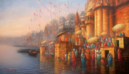 Banaras Ghat 1 | Painting by artist Paramesh Paul | acrylic | Canvas