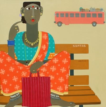 Figurative Acrylic Art Painting title 'Untitled 1' by artist Narsimlu Kandi