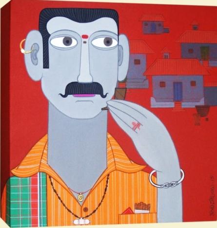Figurative Acrylic Art Painting title 'Untitled 10' by artist Narsimlu Kandi