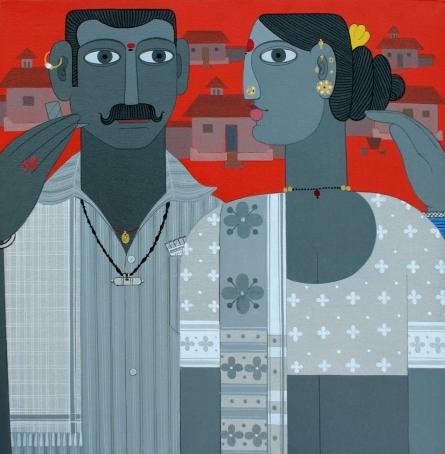 Figurative Acrylic Art Painting title 'Untitled 11' by artist Narsimlu Kandi