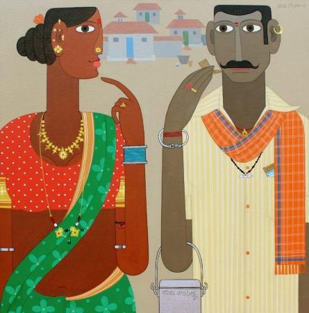 Figurative Acrylic Art Painting title 'Untitled 12' by artist Narsimlu Kandi