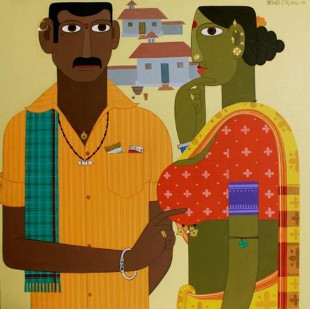 Figurative Acrylic Art Painting title 'Untitled 2' by artist Narsimlu Kandi