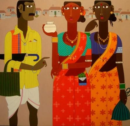 Figurative Acrylic Art Painting title 'Untitled 4' by artist Narsimlu Kandi