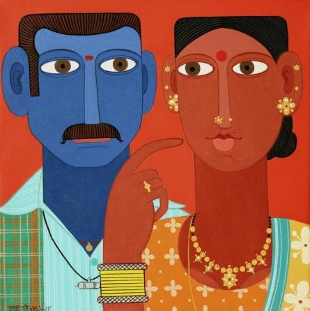 Figurative Acrylic Art Painting title 'Untitled 8' by artist Narsimlu Kandi