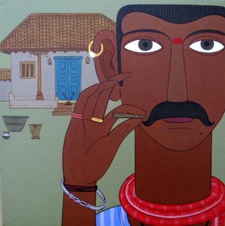 Figurative Acrylic Art Painting title 'Untitled 9' by artist Narsimlu Kandi