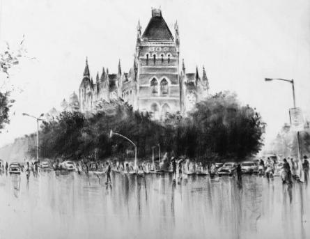 Hutatma Chowk | Painting by artist Mukhtar Kazi | charcoal | Paper