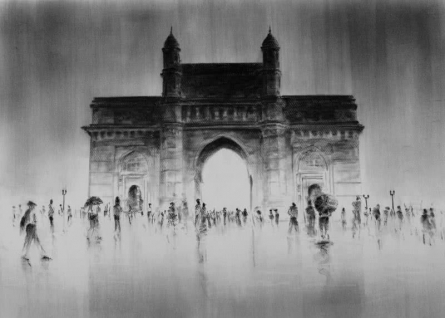 Gate Of India | Painting by artist Mukhtar Kazi | charcoal | Paper
