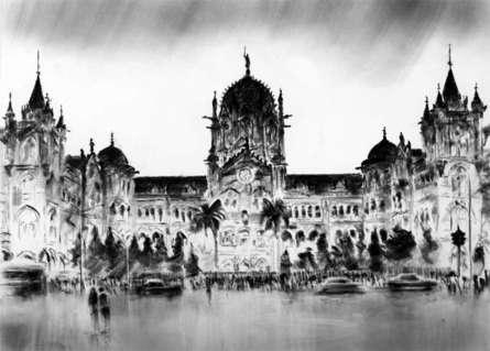 Cityscape Charcoal Art Painting title Cst 18 by artist Mukhtar Kazi