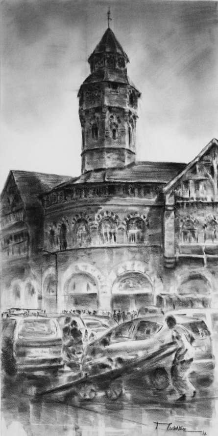 Crowfoad Market 21 | Painting by artist Mukhtar Kazi | charcoal | Paper