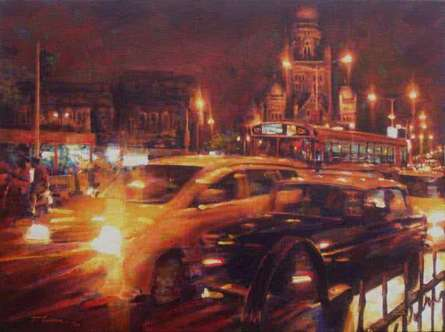 Cityscape Acrylic Art Painting title 'Mumbai Traffic' by artist Mukhtar Kazi
