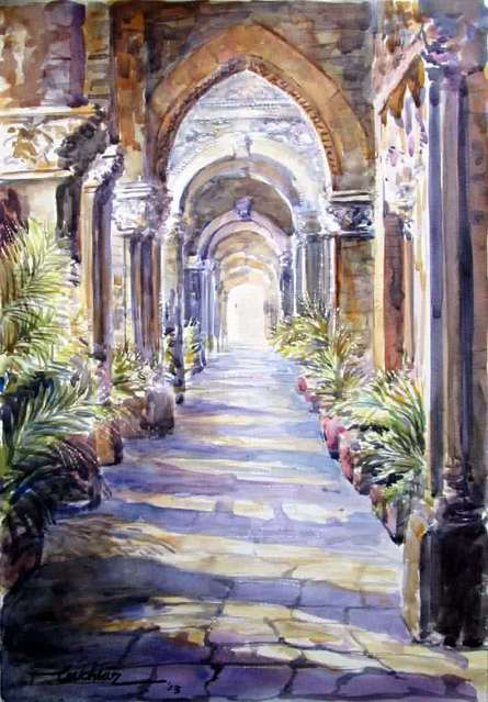Cityscape Watercolor Art Painting title 'Corridor' by artist Mukhtar Kazi