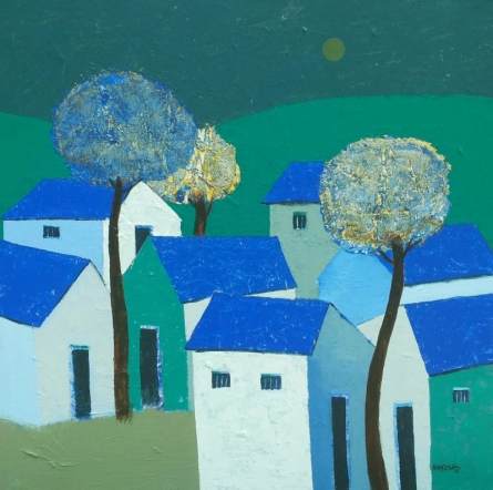 Nagesh Ghodke | Acrylic Painting title Village 1 on Canvas | Artist Nagesh Ghodke Gallery | ArtZolo.com