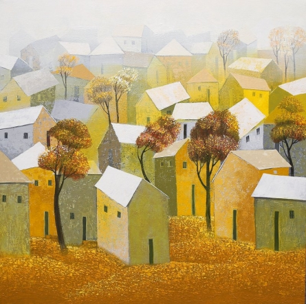 Landscape Acrylic Art Painting title 'Village 5' by artist Nagesh Ghodke
