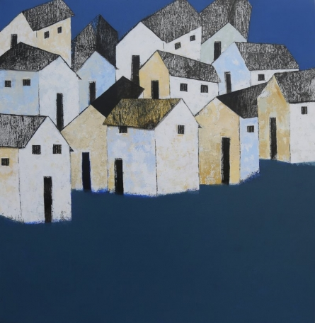 Nagesh Ghodke Paintings | Acrylic Painting - Village 7 by artist Nagesh Ghodke | ArtZolo.com