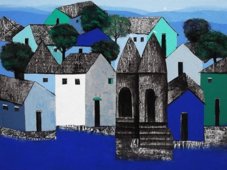 Cityscape Acrylic Art Painting title Village by artist Nagesh Ghodke