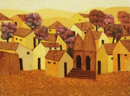 Village  | Painting by artist Nagesh Ghodke | acrylic | Canvas