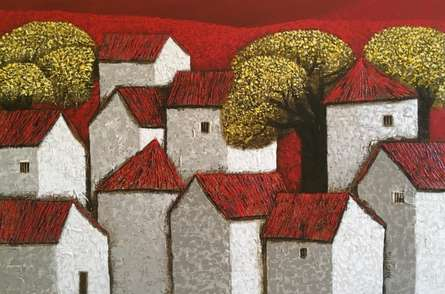 Cityscape Acrylic Art Painting title 'Village 15' by artist Nagesh Ghodke