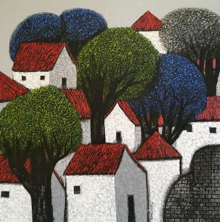 Nagesh Ghodke Paintings | Acrylic Painting - Village 12 by artist Nagesh Ghodke | ArtZolo.com