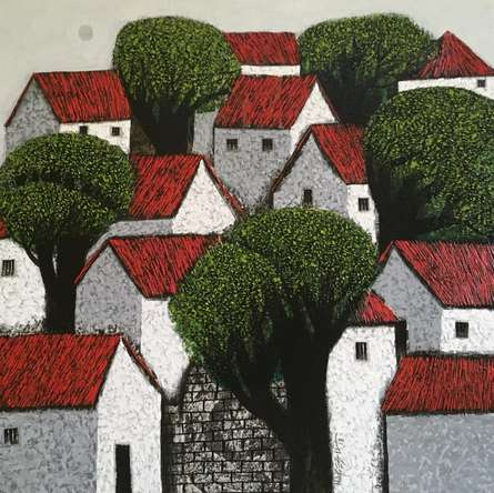 Nagesh Ghodke | Acrylic Painting title Village 13 on Canvas | Artist Nagesh Ghodke Gallery | ArtZolo.com