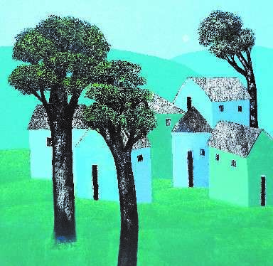 Village 61 | Painting by artist Nagesh Ghodke | acrylic | Canvas