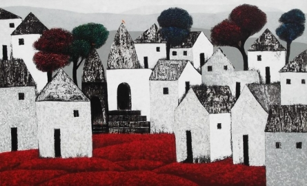 Nagesh Ghodke | Acrylic Painting title Village 78 on Canvas | Artist Nagesh Ghodke Gallery | ArtZolo.com