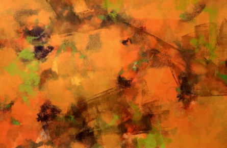 Abstract Acrylic Art Painting title 'Orance Space' by artist Asif Shaikh