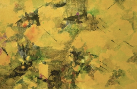 Abstract Acrylic Art Painting title 'Yellow Space' by artist Asif Shaikh